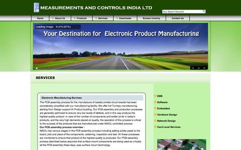 Screenshot of Services Page macil.in - Measurements & Controls India Limited, Bangalore,India,Telecom Equipment Manufacturer, EMS, PCB,MACIL - captured March 4, 2016