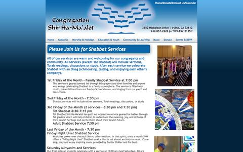 Screenshot of Services Page shmtemple.org - Shir Ha-Ma'alot, Irvine CA Irvine, CA Services - captured Oct. 2, 2014