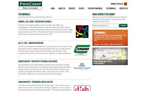 Screenshot of Testimonials Page procomp.biz - ProComp Risk Advisors - Testimonials - captured Oct. 3, 2014