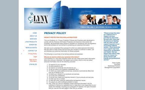 Screenshot of Privacy Page lynxsystemsinc.com - Lynx Systems Inc. | Contact - captured Oct. 3, 2014