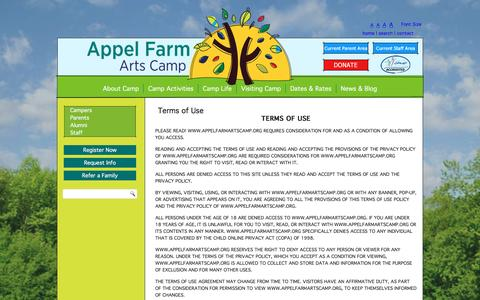 Screenshot of Terms Page appelfarmartscamp.org - Terms of Use - Appel Farm Arts Camp - captured July 26, 2016