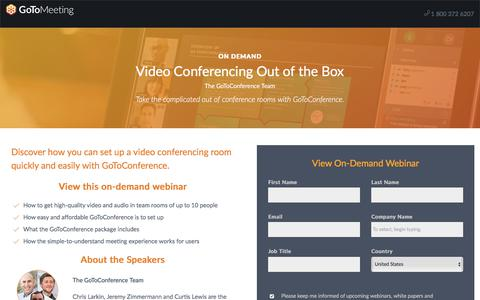 Screenshot of Landing Page gotomeeting.com - Video Conferencing Out of the Box - captured Oct. 12, 2017