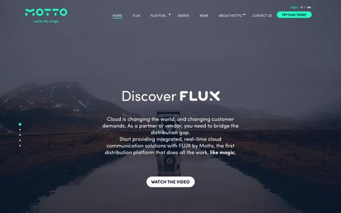 Screenshot of Home Page motto.nl - Motto - FLUX cloud distribution platform - Works like magic - captured Oct. 18, 2018