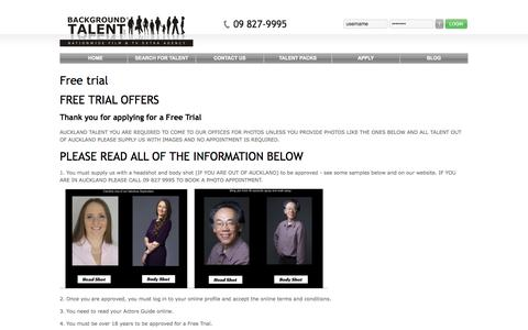Screenshot of Trial Page backgroundtalent.com - Free trial - captured Sept. 30, 2014
