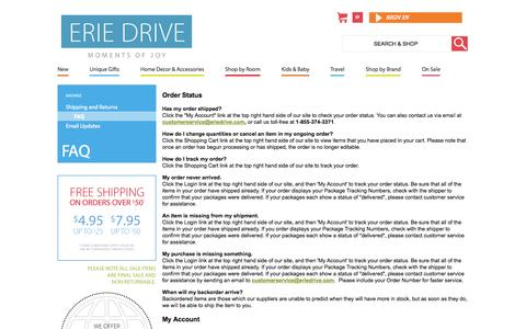 Screenshot of FAQ Page eriedrive.com - Erie Drive Frequently Asked Questions | Erie Drive - captured Sept. 26, 2014