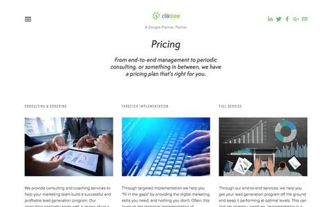 Screenshot of Pricing Page cliktree.com - Industrial & OEM Lead Generation Pricing — ClikTree - captured July 19, 2018