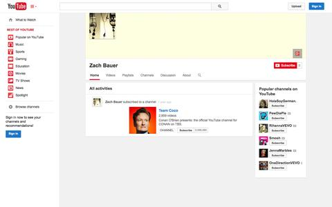 Screenshot of YouTube Page youtube.com - Zach Bauer  - YouTube - captured Oct. 23, 2014
