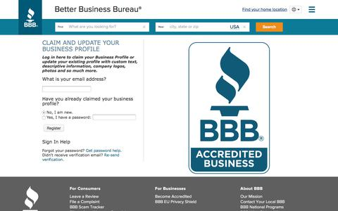 Screenshot of Login Page bbb.org - BBB Account | BBB.org - captured Aug. 20, 2019