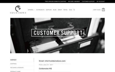 Screenshot of Support Page coldsmokeco.com - SUPPORT | COLDSMOKE APPAREL - captured May 12, 2017