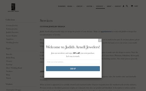 Screenshot of Services Page juditharnell.com - Services - Judith Arnell Jewelers - captured Oct. 16, 2017