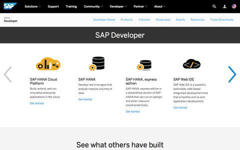 Screenshot of Developers Page sap.com - Resources for SAP Developers | SAP - captured Dec. 9, 2016