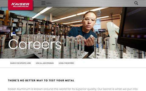 Screenshot of Jobs Page kaiseraluminum.com - Careers – Kaiser Aluminum - captured April 21, 2018