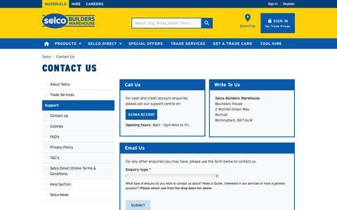Screenshot of selcobw.com - Contact Us | Selco Builders Warehouse - captured Oct. 3, 2015