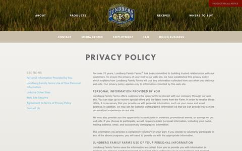 Screenshot of Privacy Page lundberg.com - Privacy Policy | Lundberg Family Farms - captured Oct. 31, 2014