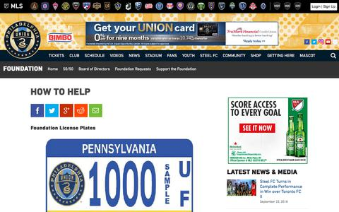 Screenshot of Support Page philadelphiaunion.com - How To Help | Philadelphia Union - captured Sept. 23, 2018