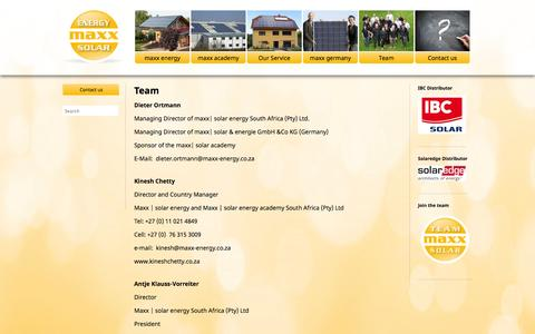 Screenshot of Team Page maxx-solar-energy.co.za - Team « maxx – solar & energy – Photovoltaic from Germany – Now available in South Africa - captured Oct. 27, 2014