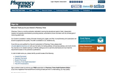 Screenshot of Signup Page pharmacytimes.com - Sign Up | Pharmacy Times - captured Oct. 25, 2015