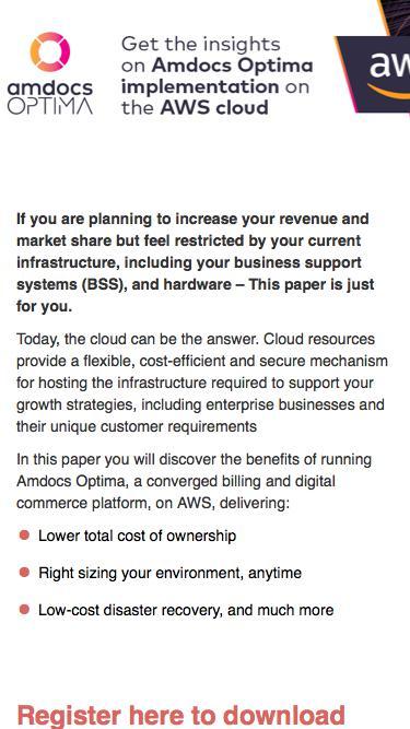 Amdocs Optima implementation on the AWS cloud