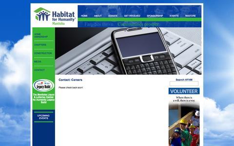 Screenshot of Jobs Page habitat.mb.ca - Contact | Habitat For Humanity® Manitoba | Families thrive. Communities prosper. Everyone wins. - captured Oct. 22, 2014