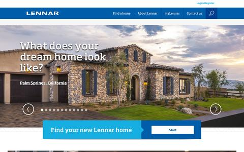 Screenshot of Home Page lennar.com - Lennar New Homes For Sale - Building Houses and Communities - captured Oct. 22, 2015