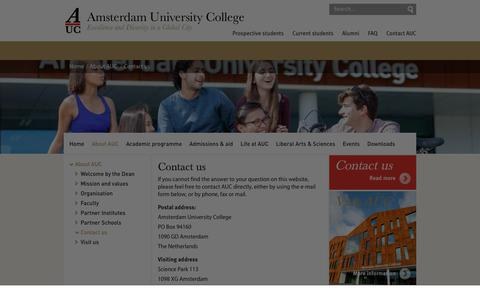 Screenshot of Contact Page auc.nl - Contact us - AUC - captured Sept. 22, 2018