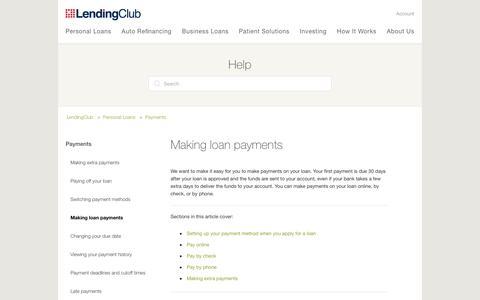 Screenshot of Support Page lendingclub.com - Making loan payments – LendingClub - captured June 27, 2018