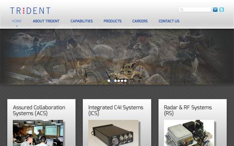 Screenshot of Home Page tridsys.com - Technically Advanced and Cutting-Edge Hardware and Software for Military and Government Applications - captured Aug. 15, 2015