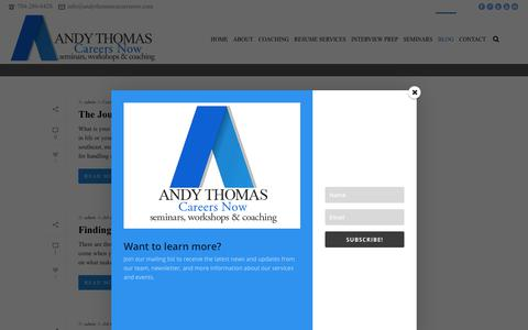 Screenshot of Blog andythomascareersnow.com - ANDY THOMAS CAREER COACH | CAREER SEARCH TIPS - captured July 30, 2018