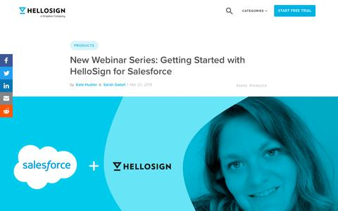 Screenshot of Blog hellosign.com - New Webinar Series: Getting Started with HelloSign for Salesforce - HelloSign Blog - captured Feb. 21, 2020