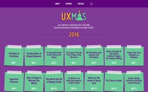 Screenshot of Home Page uxmas.com - UXmas | An advent calendar for UX folk - captured July 6, 2017