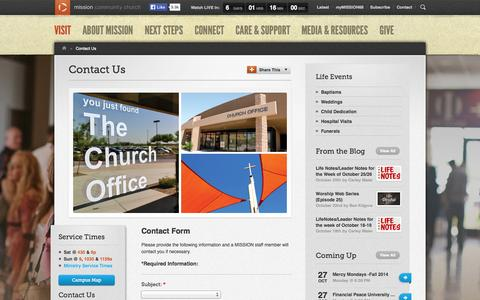 Screenshot of Contact Page mission68.org - MISSION » Contact Us - captured Oct. 26, 2014