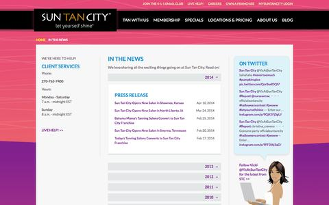 Screenshot of Press Page suntancity.com - Sun Tan City in News Articles and Press Releases - captured Oct. 21, 2015