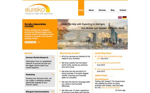 Screenshot of Home Page eureko.co.uk - Eureko Associates Ltd - International Trade & Export Services - captured July 16, 2015