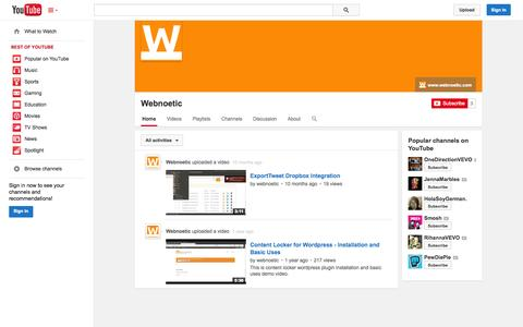 Screenshot of YouTube Page youtube.com - Webnoetic  - YouTube - captured Oct. 26, 2014