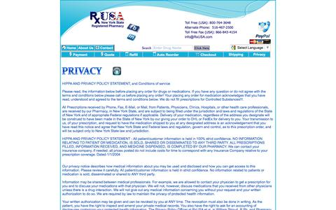 Screenshot of Privacy Page rxusa.com - RxUSA Pharmacy, Prescriptions, Drugs, Medications, Pharmacy - captured Dec. 1, 2016