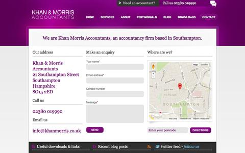 Screenshot of Contact Page khanmorris.co.uk - Contact | Khan Morris Accountants Limited - captured Oct. 6, 2014