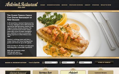 Screenshot of Home Page antoines.com - Antoine's Restaurant | French Quarter Restaurant Since 1840 - captured Oct. 4, 2014