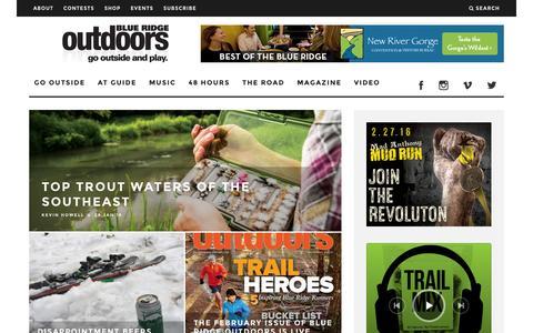 Screenshot of Home Page blueridgeoutdoors.com - Blue Ridge Outdoors | Outdoor Adventure Magazine - captured Jan. 29, 2016