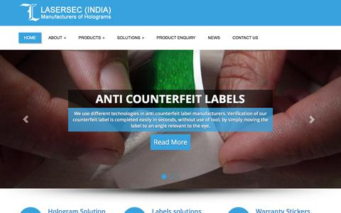 Screenshot of Home Page lasersec.in - Home | Lasersec India Pvt. Ltd. - captured Jan. 26, 2016