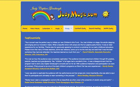 Screenshot of Testimonials Page judymusic.com - Testimonials | JudyMusic.com - captured Oct. 6, 2014