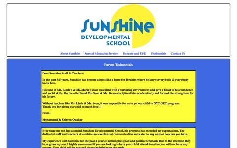 Screenshot of Testimonials Page sunshineschool.org - Sunshine Developmental School - Contact Use - captured Feb. 17, 2016