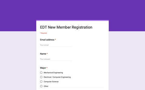 Screenshot of Signup Page google.com - EDT New Member Registration - captured Oct. 26, 2018