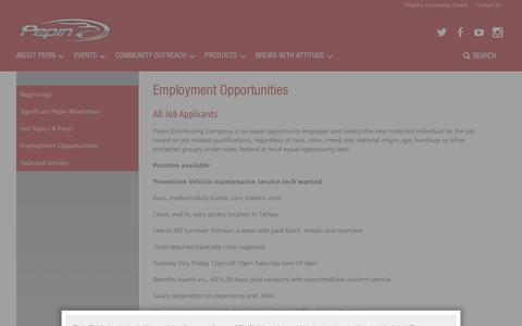 Screenshot of Jobs Page pepindistributing.com - Employment Opportunities - Pepin Distributing - captured Jan. 27, 2016