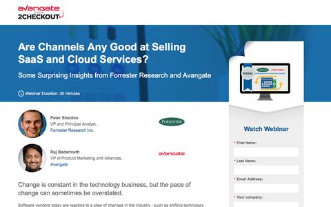Screenshot of Landing Page avangate.com - Webinar: Are Channels Any Good at Selling SaaS and Cloud Services? - captured April 13, 2018