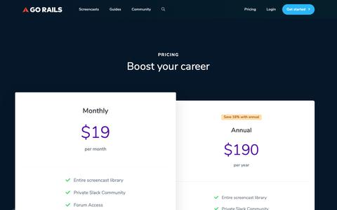 Screenshot of Pricing Page gorails.com - Pricing | GoRails - captured Nov. 10, 2018