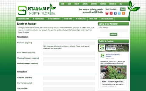 Screenshot of Signup Page sustainablenorthflorida.org - Sign Up - Sustainable North Florida - captured March 5, 2016