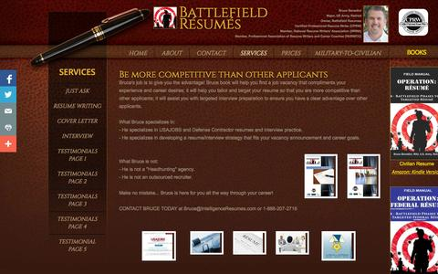Screenshot of Services Page battlefieldresumes.com - Battlefield Resumes - Services - captured Nov. 1, 2014