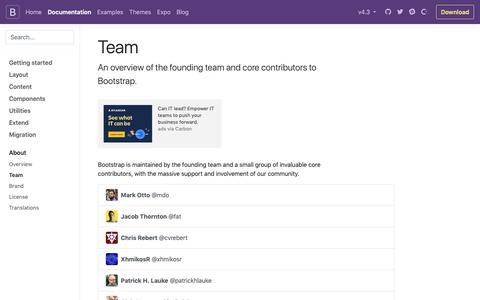 Screenshot of Team Page getbootstrap.com - Team · Bootstrap - captured Feb. 15, 2019