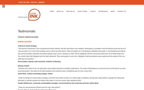 Screenshot of Testimonials Page clearink.ie - Testimonials • Clear Ink - captured Nov. 5, 2018