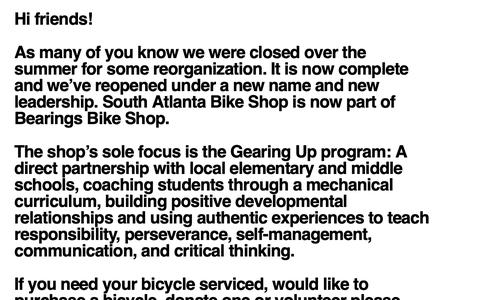 Screenshot of Home Page southatlantabikeshop.org - South Atlanta Bike Shop - captured Oct. 20, 2018